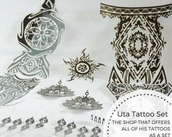 Uta Temporary Tattoo Set, Tokyo Ghoul, Anime, Cosplay, Tōkyō Gūru, No Face, Full Set, Halloween, Ghoul, Ready to Wear, Precut Tattoo