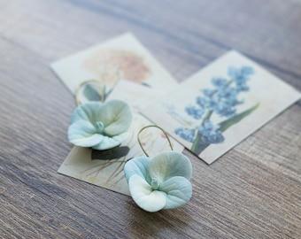 Dangle flower earrings - pastel flower earrings - hydrangea earrings - hydrangea jewelry - flower earrings - garden wedding