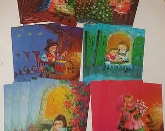 Set of Vintage Wolfgang M. Otto Christmas Cards, Unused -- 24 Religious Cards, 6 Designs plus Envelopes -- Coronation Collection, 1970s