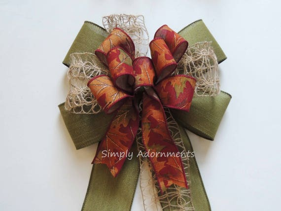 Rustic Fall Burlap Bow for Wreath Whimsical Fall Colors Lantern Swag Bow Burgundy Green Fall Burlap Door Hanger Decor Fall Burlap Gift bow