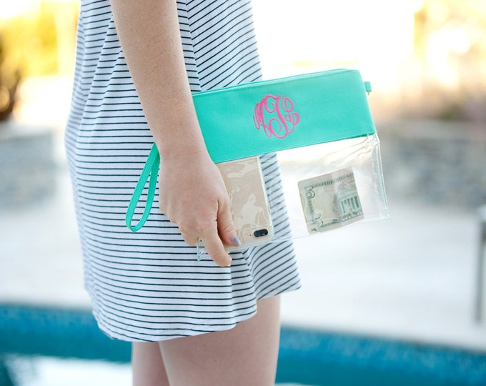 Monogrammed Clear Purse, Stadium friendly, Security Friendly, Monogrammed Clear Zip Pouch, Clutch, Crossbody, Team Colors