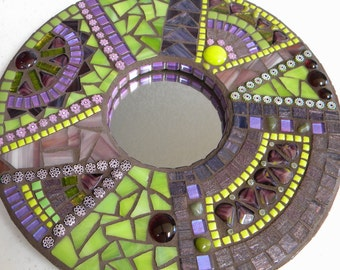 Purple Lime Green Mosaic Mirror, Round Abstract Mirror, Modern Decor, Purple Green Decor, Eclectic Mosaic, Housewarming Gift