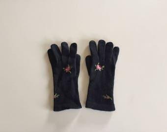 Vintage 50s Black Knit Gloves