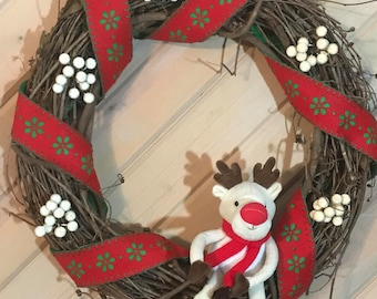 Rudolph the Red Nose Reindeer Christmas Holiday Wreath