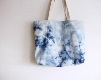 Reverse Shibori + Denim Beach Bag - Bucket Bag - Reversible Bag - Tote bag
