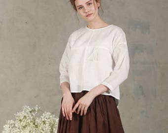 Loose White Linen Shirt (8 colors), Handmade Blouse with triangular pleat fold, white blouse, white top,casual shirt, peasant blouse