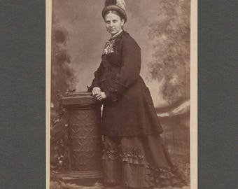 Fashion CDV of a Very Well Dressed Woman ~ Unusual Jewelry