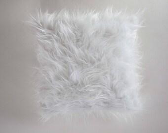 White pillow cover, Faux fur Christmas pillow, Christmas gift idea, Holiday home decor, fur cushion, decorative pillow, fur throw pillow