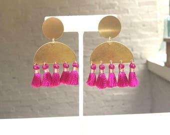 Brass Half Moon and Tassel Earrings