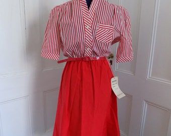 Vintage Deadstock 1980s Red and White Striped Shirtwaist Dress