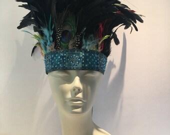 Blue feather Head Wrap- Boho Headband-  Music Festival Wear- Feather stretch band