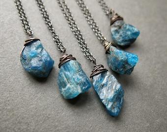 Raw Apatite Necklace - Raw Gemstone Necklace - Raw Stone Necklace - Apatite Pendant - Apatite Jewelry - Raw Crystal Pendant - Boho Necklace