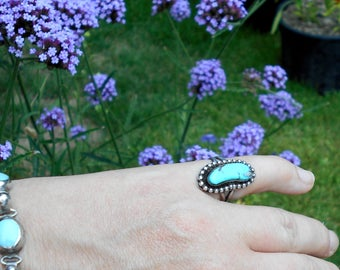 Sz 5 Turquoise Ring, Sterling Silver Native American Southwestern Boho