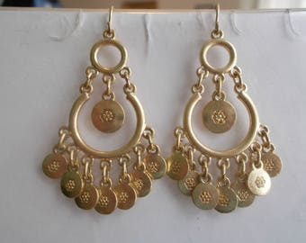 Gold Tone Chandelier Earrings with Gold Tone Bead Dangles