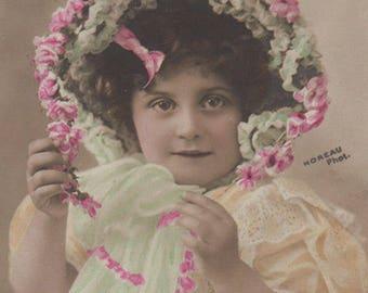 Edwardian Girl With A Fancy Bonnet Antique Photo Postcard
