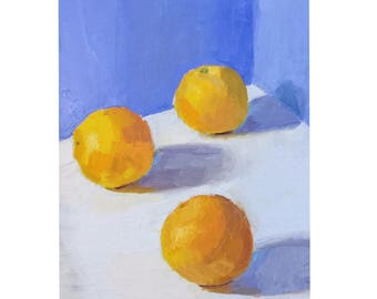 "3 Oranges, 6""x8"" oil painting on panel, unframed"