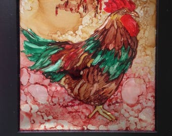 Good Morning -- Alcohol Ink on Metal