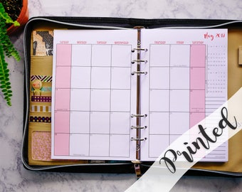 Printed 2018 Dated Monthly Planner Inserts Half Letter for use in Filofax A5,  M446S-2018