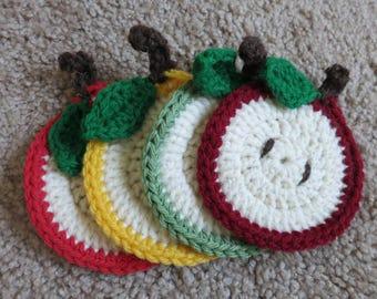Apple Crochet Coasters (set of 4)