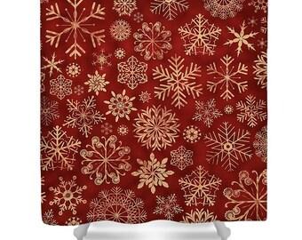 Red Shower Curtain, Christmas Bathroom Curtain,snowflake Decor,farmhouse  Shower Curtain, Farmhouse