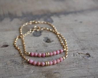 Pink gemstone bracelet, Dainty gemstone bracelet, Layering gemstone bracelet, Delicate gemstone bracelet, Rhodonite bracelet, Bar bracelet
