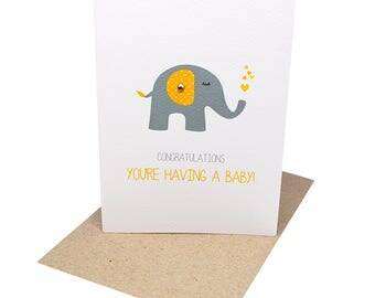 Pregnancy Card - You're Having a Baby - Grey and Yellow Elephant with Hearts - BBY004 / Congratulations You're Pregnant
