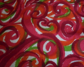 Gorgeous! Vintage 1960's, 70's Burgandy, Red, Green Swirl Lightweight Wool Challis? Fabric, 2 plus yards