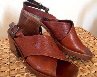 VINTAGE Italian Leather Joan & David Slingback Heeled SANDALS- US 6M