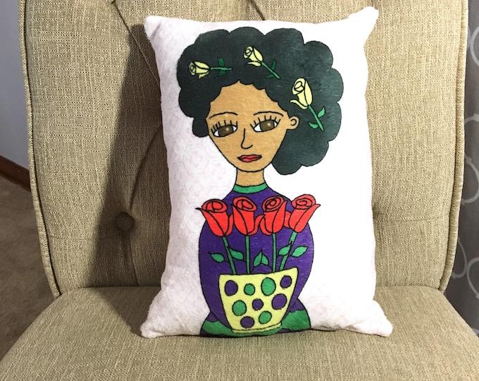 Art Pillow: Frida Doll Pillow Flowers Bouquet Woman Accent Pillow Handmade Textile Home Decor Nursery Pillow Baby Doll Unique Gift