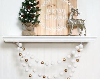 Felt Ball Garland with Gold Beads, Pom Pom Garland, Christmas Party Decor, White & Gold, Winter Decor, Christmas Garland