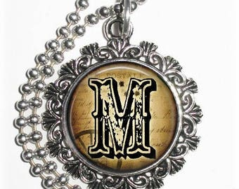 "Letter ""M"" Art Pendant,  Alphabet Resin Pendant, Vintage Silver, Black & Brown Photo Pendant"