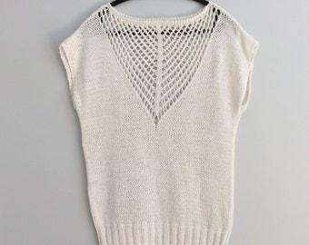 Vintage 90's White Cotton Sleeveless Sweater Loose Fit Jumper Vest Boat Neck Square Mesh Yoke Knit Top S M