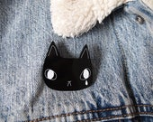 Sad black cat brooch - Black cat brooch - Black cat - cat brooch - Cat jewellery - I like cats - Acrylic jewellery - Acrylic brooch - Cats