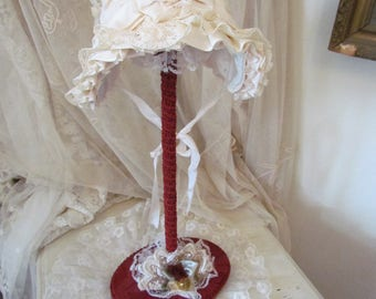 Red Satin Hat Stand, Ruffled Lace, Gold Rose