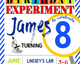 Science Party Personalized Birthday Invitation Print at Home Digital File