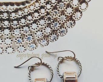 Copper Swarovski Drop Earrings. Swarovski Earrings. Silver and Copper. Weddings. Classic Jewelry.