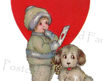 Sweet Vintage VALENTINE, Puppy Dog and Boy with Valentine, Instant DIGITAL Download, Printable, Thinking of You