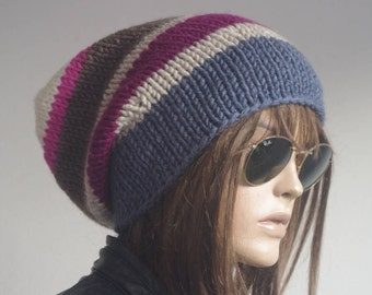 Womens hats, winter hat, oversize cable Knit Hat blue Winter Accessories, Women Slouchy Hat, valentines day