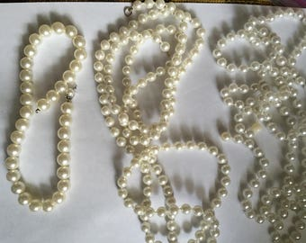 Lot of 3 Faux Pearl Necklaces, Vintage, Collectible