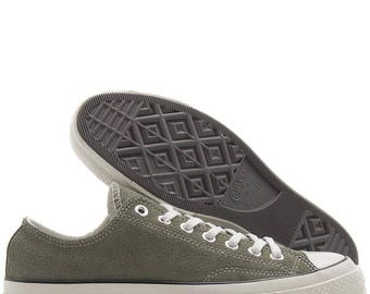 Suede 70s Converse Olive Green Mens Ladies Military Gray Low Top Bling w/ Swarovski Crystal Rhinestone Chuck Taylor All Star Sneaker Shoes