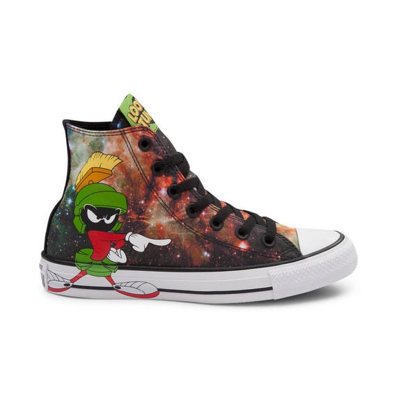 Kids Looney Tunes Converse High Top Childrens Marvin Martian K9 Galaxy Retro Custom w/ Swarovski Crystal Chuck Taylor All Star Shoes Sneaker