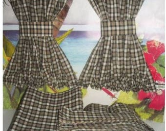 VW Brown Plaid Van Curtains w Cabin Divider Fits T2 Models 1968-1979