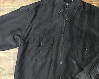 Black Silk Long Sleeved Shirt