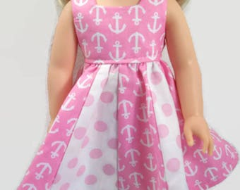 Pink and White Anchor and Dot Dress - Made to Fit 14.5 inch Dolls - Girl Doll Clothes - Doll Dress - Wish Doll