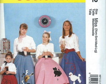 UNCUT Sock Hop Poodle Skirt Costume Sewing Pattern 1950s Style McCalls 7253 Size XS