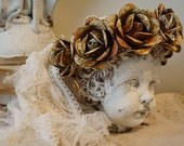 French Santos rusty crown for large busts shabby farmhouse tie back headdress embellished rusted hand cut roses decor anita spero design