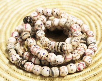 99 White and Pink Venetian Skunk Beads, Ethiopian Trade Beads, Collectible Beads (AK103)