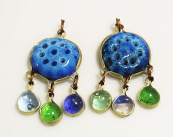 Blue Ceramic Dangle Pendants from the Middle East , Unique Ethnic Pendants, Jewelry Making Supplies (AL263)