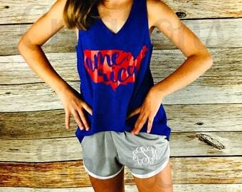 Girls America Tank Top, Patriotic Tank Top, Fourth of July Shirt, 4th of July Shirt, Patriotic Monogram, Fourth of July Monogram, Merica