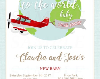 Welcome to the World red vintage airplane with banner boy baby shower or birthday Personalized invitation -Printable File